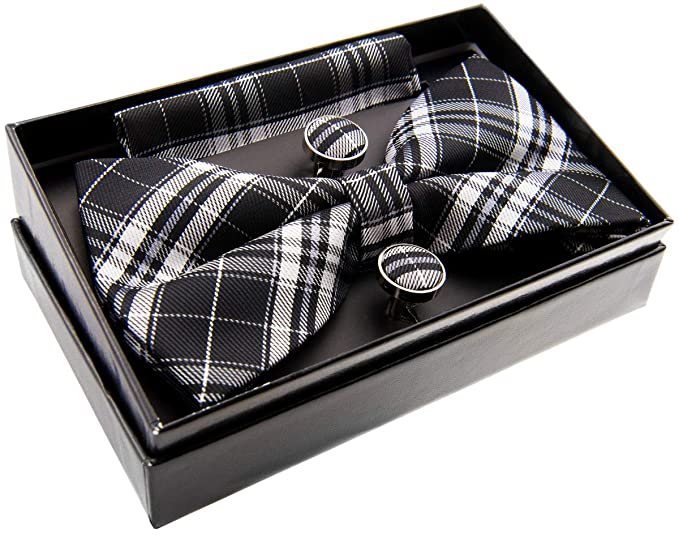 Stylish Tartan Plaid Check Woven Pre-tied Bow Tie w//Pocket Square /& Cufflinks Gift Set 5