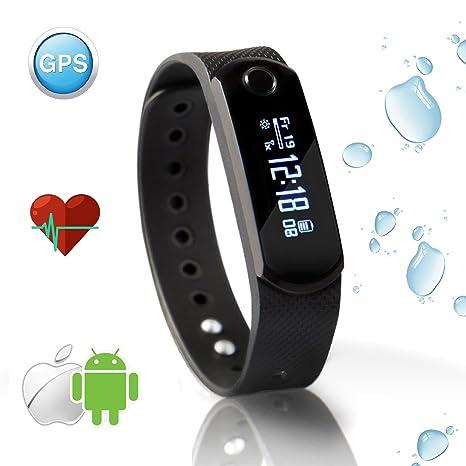 Pulsera Reloj Inteligente Bluetooth Impermeable Pulsera Actividad Avec Podómetro/Monitor de sueño y Ritmo cardíaco/Contador de Calorías/GPS – ...