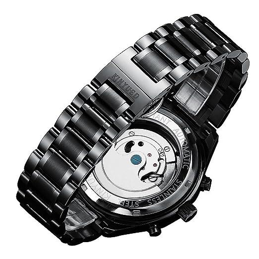842e5fa224e8 kinyued Auto FECHA hombres reloj mecánico automático esqueleto Dial negro  impermeable oro banda de acero inoxidable  Amazon.es  Relojes