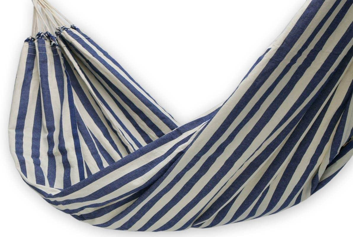 NOVICA Blue and White Striped Brazilian Outdoor Cotton Hammock, Maritime Brazil single – HAM0010