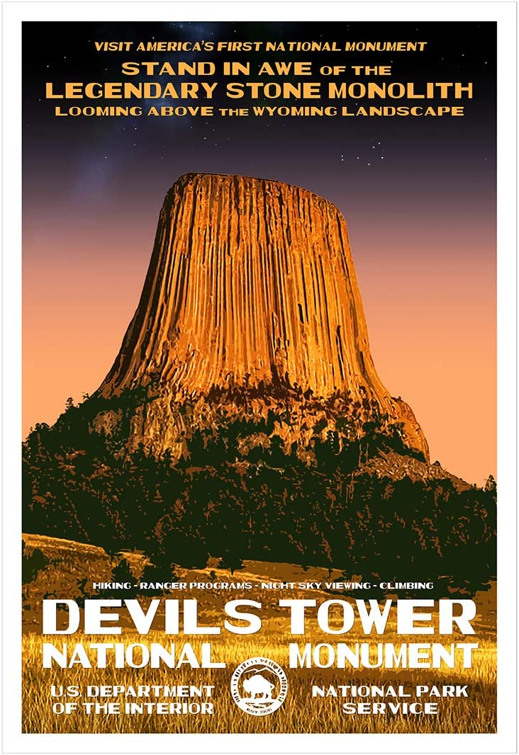 """Devils Tower National Monument, Wyoming - WPA-Style National Park Poster - 13"""" x 19"""" - Wall Decor for Home and Office - Original Artwork"""