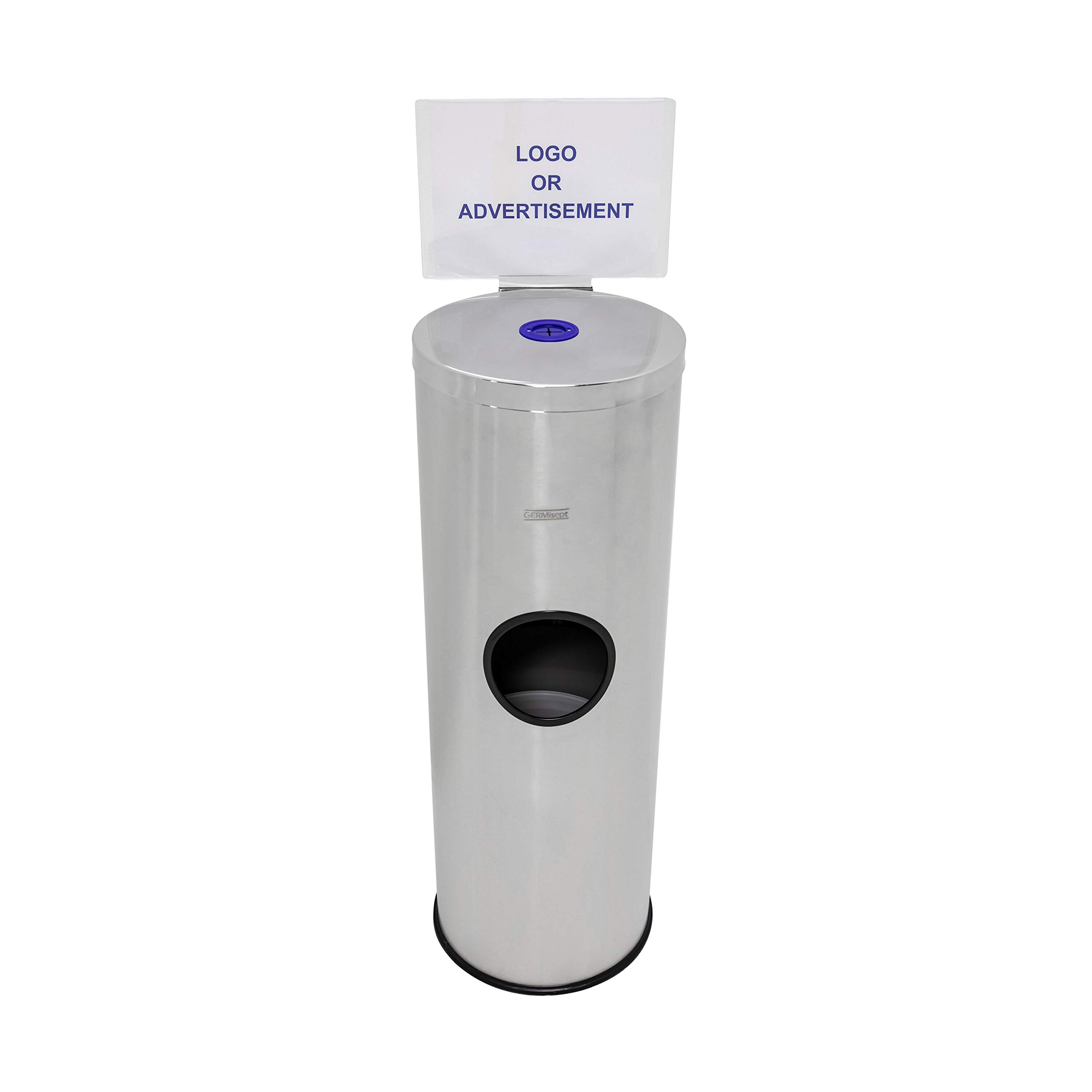 Germisept Stainless Steel Wipes Dispenser with High Capacity Built-in Trash Can and Back Door Access, with Sign Board by GERMISEPT (Image #1)