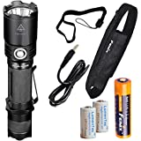 Fenix TK20R 1000 Lumens High Capacity USB Rechargeable LED Tactical Flashlight with 2900 mAh Fenix 18650 Battery and 2x LumenTac CR123A Batteries