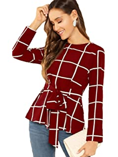 56438a50881d2b AARA Presents Maroon Solid Peplum Top/Shirt for Women's with Round ...