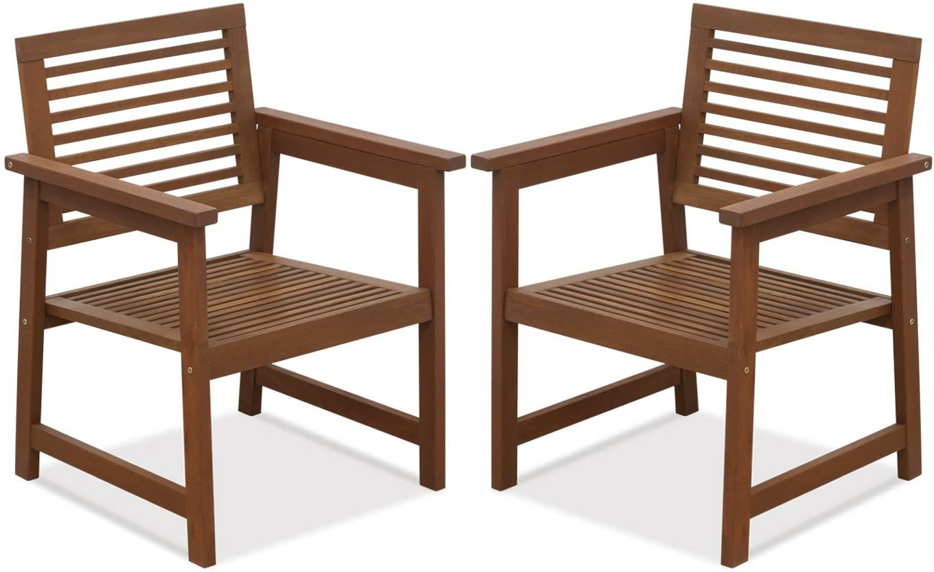 Furinno Tioman Teak Hardwood Outdoor Armchair without Cushion, FG161249R Set of Two