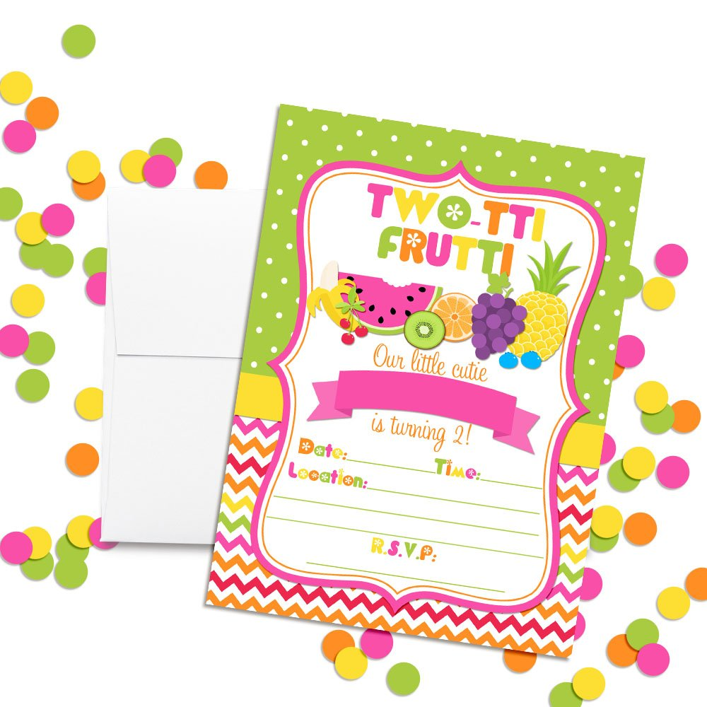Amazon Tutti Frutti Sweet And Juicy 2nd Birthday Party Invitations 20 5x7 Fill In Cards With Twenty White Envelopes By AmandaCreation Toys