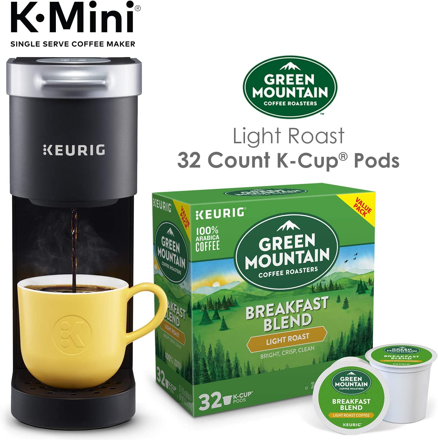 Keurig K-Mini Single Serve Coffee Maker with Green Mountain Breakfast Blend Coffee Pods, 32 count