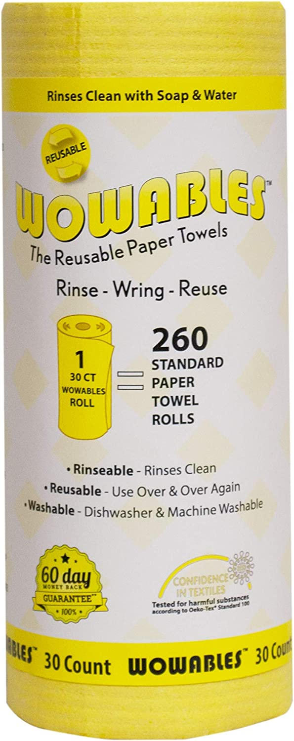 12 Sheets of Reusable and Washable Paper Towels Wowables Reusable /& Biodegradable Paper Towel Yellow Replaces up to 13,260 Disposable Paper Towel Sheets Dishwasher and Machine Washable