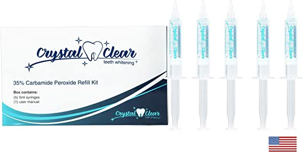 Teeth Whitening (5 Pack), Crystal Clear Teeth Whitening Gel, MADE IN USA! Dentists Approved (5 Pack Refill)