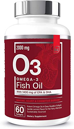 Omega-3 Burpless Fish Oil Supplement with EPA & DHA | Antioxidant Fatty Acids for Immune, Heart & Cognitive Support | Omega-3 Fish Oil by Essential Elements - 60 Softgels