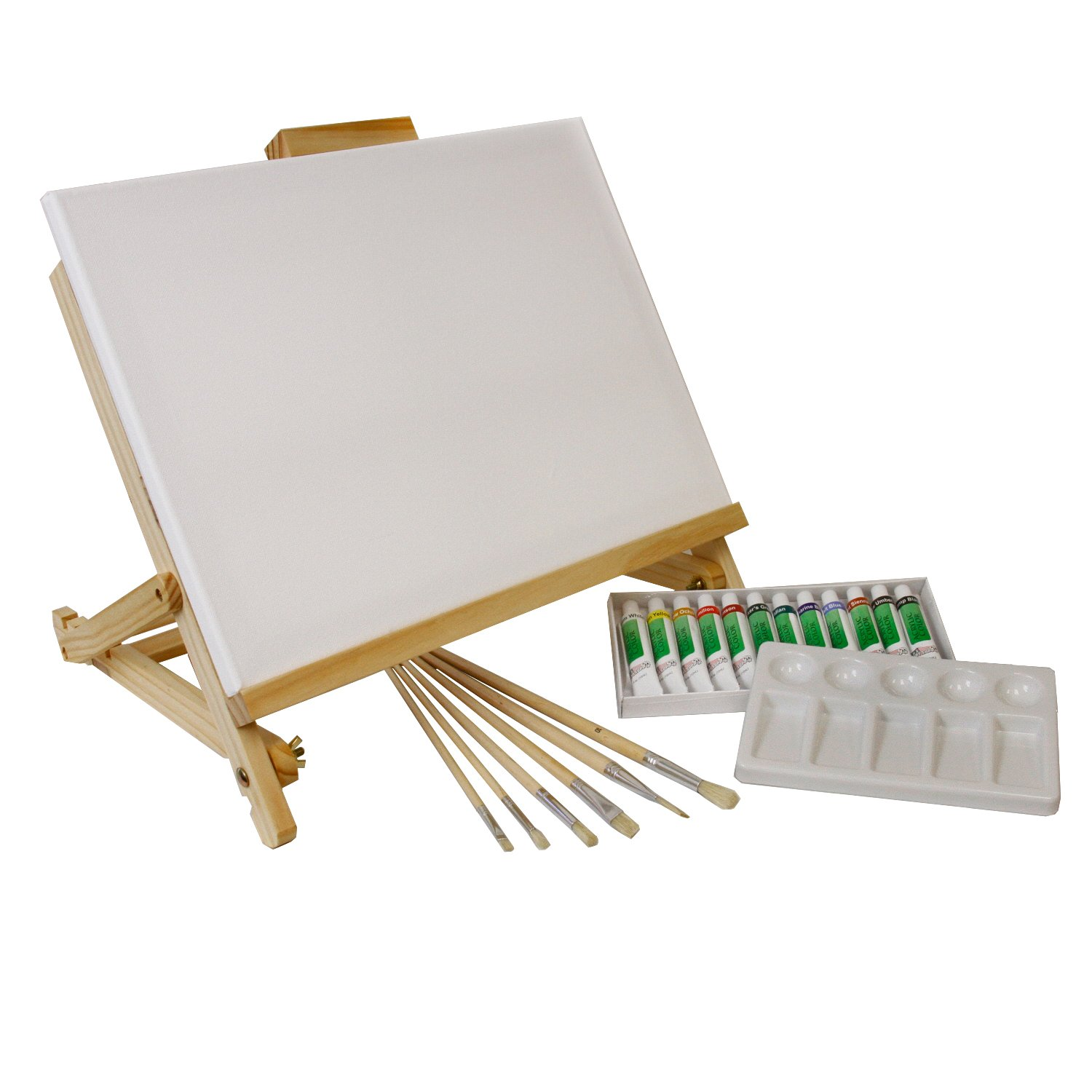 Painting Set with canvas and paint brushes and paint tubes