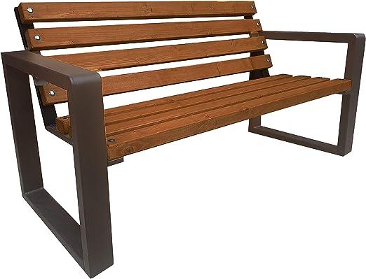 Banco para jardín, patio delantero, ciudad y municipio, macizo y estable, exterior, madera, acero, resistente a la intemperie, exterior (mesa grande de 150 cm).: Amazon.es: Jardín
