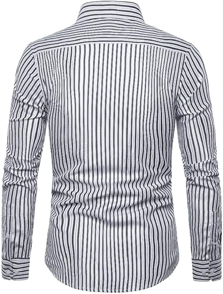 Jofemuho Mens Regular Fit Casual Solid Stand Collar Chinese-Style Long Sleeve Shirt
