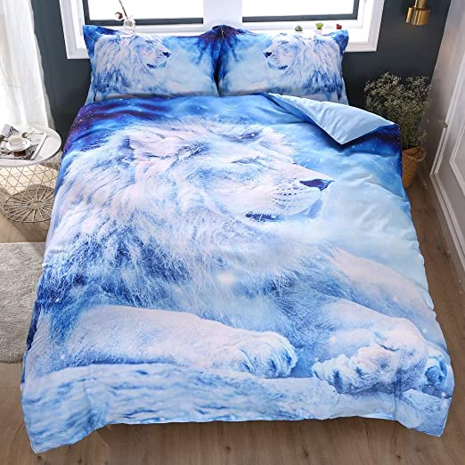 Amazon Com Decmay Blue Lion Bedding Sets Teens Duvet Cover Set