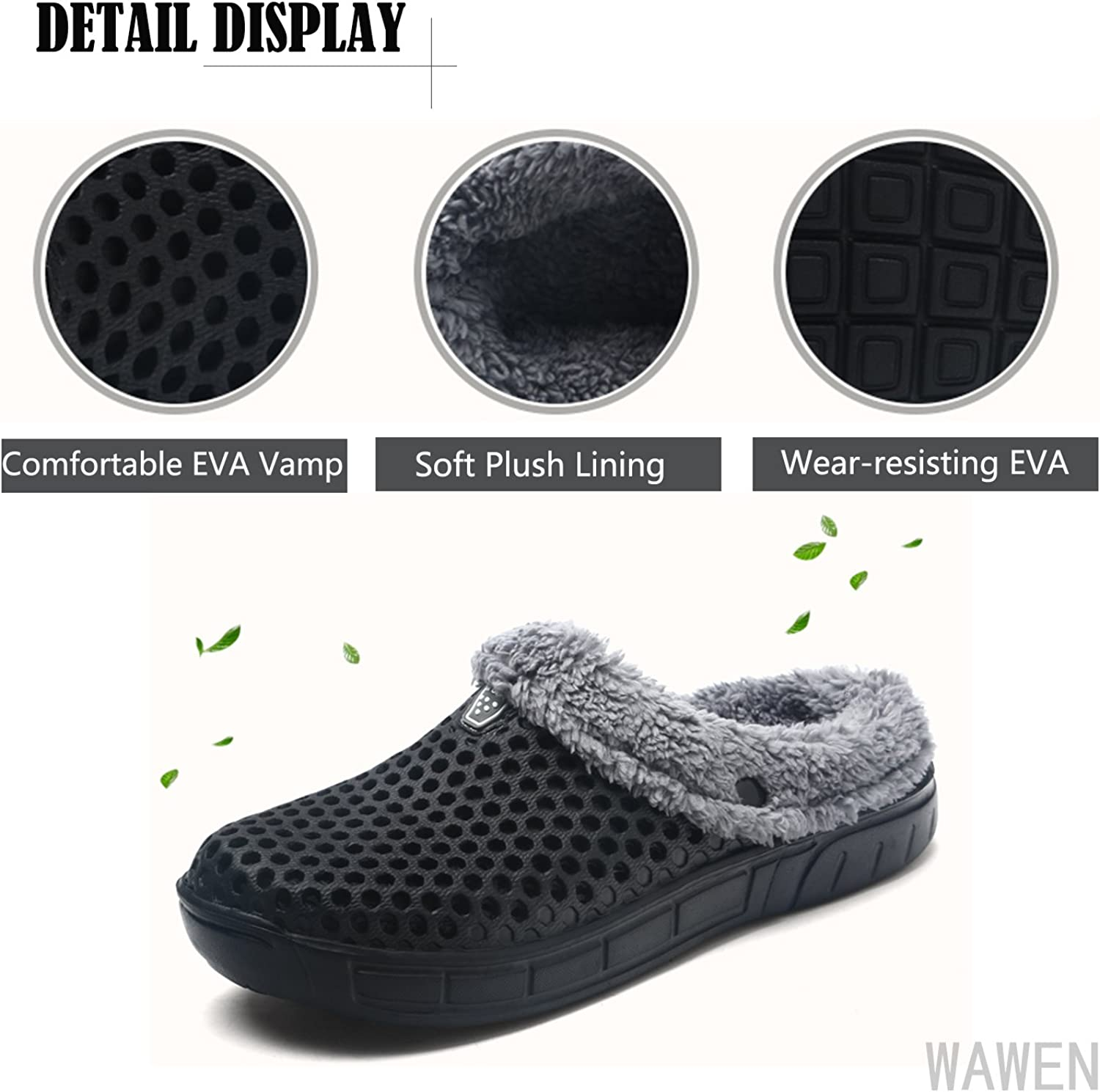 Clogs Shoes Fur Lined Slippers Winter Breathable Indoor Outdoor Walking Warm Non-Slip House Shoes for Men Women