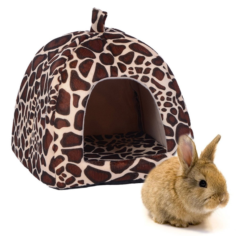 Rabbit Guinea Pig Hamster House Bed Cute Small Animal Pet Winter Warm Squirrel Hedgehog Chinchilla House Cage Nest Hamster Accessories (9''9''10'', Leopard)