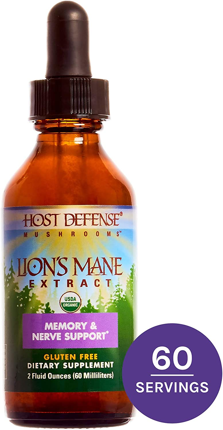 Host Defense, Lion s Mane Extract, Promotes Mental Clarity, Focus and Memory, Daily Mushroom Supplement, Vegan, Organic, Gluten Free, 2 fl oz 60 Servings