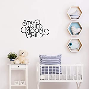 "Vinyl Wall Art Decal - Stay Wild Moon Child - 15"" x 23"" - Trendy Cute Motivational Self Esteem Sticker Quote for Bedroom Kids Room Living Room Playroom Teens Room School Classroom Office Decor (Black)"