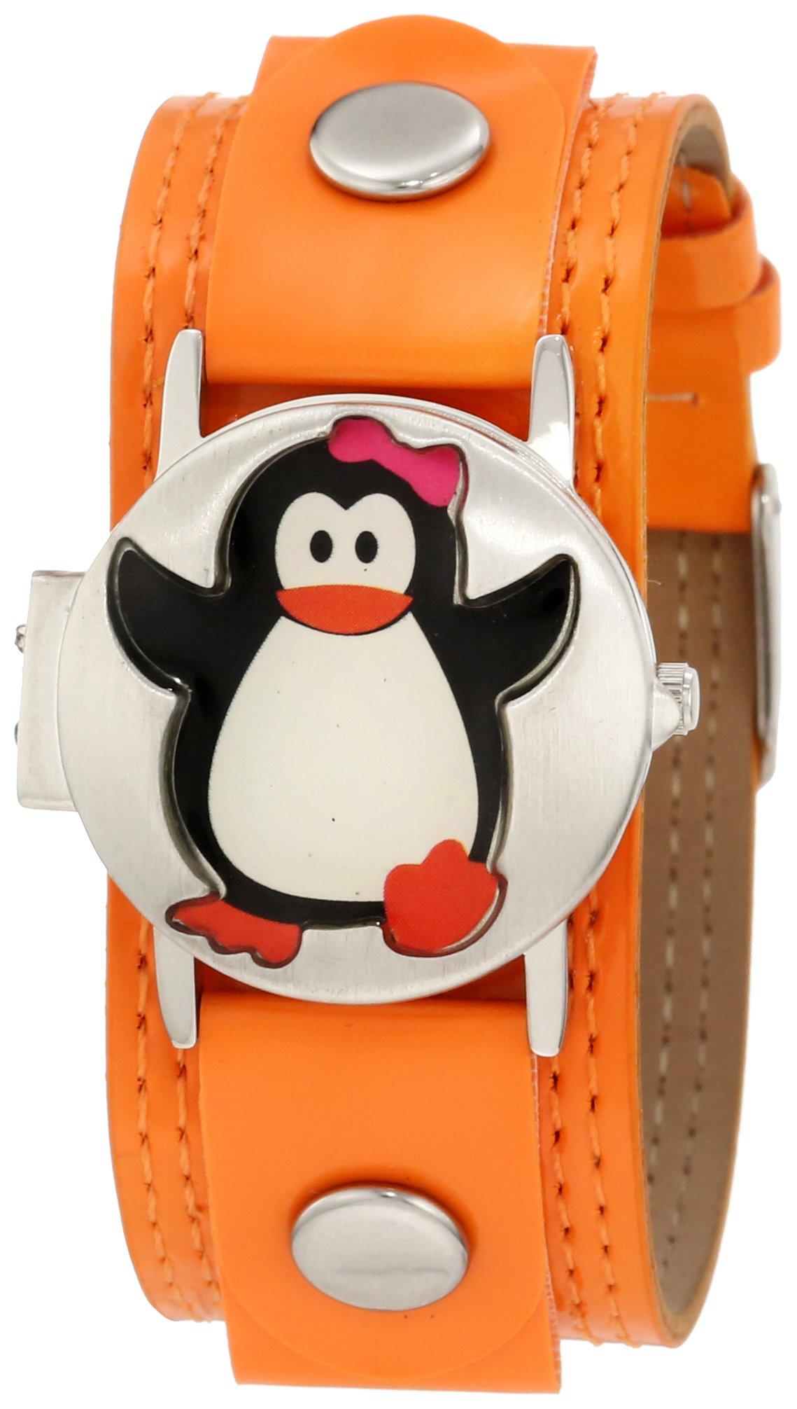 Frenzy Kids' FR319 Penguin Analog Watch with Orange Band