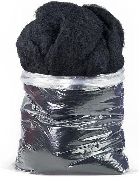 1 LB Core Wool Carded needle felting spinning wet felting WalkingPalm Black