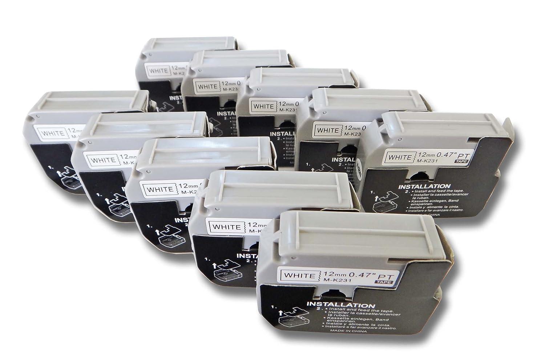 vhbw 3 x Cassette Cartouche Ruban 12mm pour Brother P-Touch BB4, PT-100, PT-110, PT-55BM, PT-55S, PT-65, PT-65SB comme Brother M-K231. VHBW4251156541596
