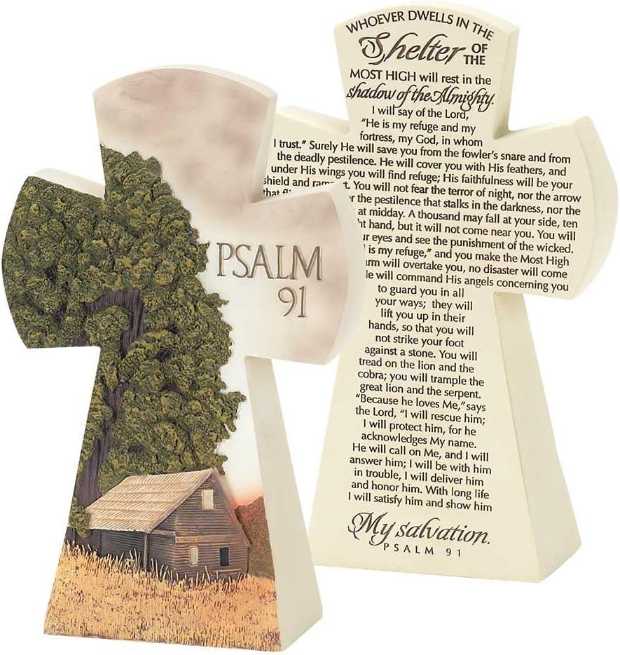 Dicksons Barn and Farm Scene Psalm 91 Cross 7.5 Resin Stone Table Top Figurine