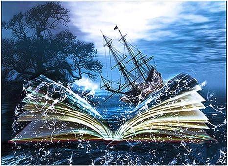 DIY completo diamante bordado fantasía mar libro vela