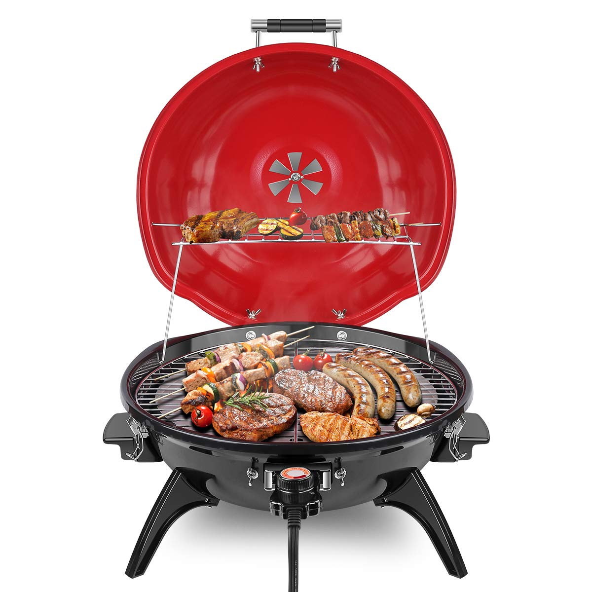 Techwood Electric BBQ Grill 15-Serving Electric Grill Outdoor/Indoor, Nonstick Portable Grill 1600W, Red by Techwood