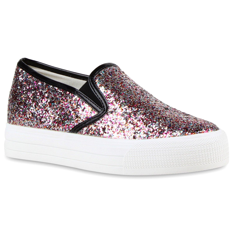 Stiefelparadies Damen Sneaker Slip Ons mit Plateau Glitzer Flandell  37 EU|Mehrfarbig