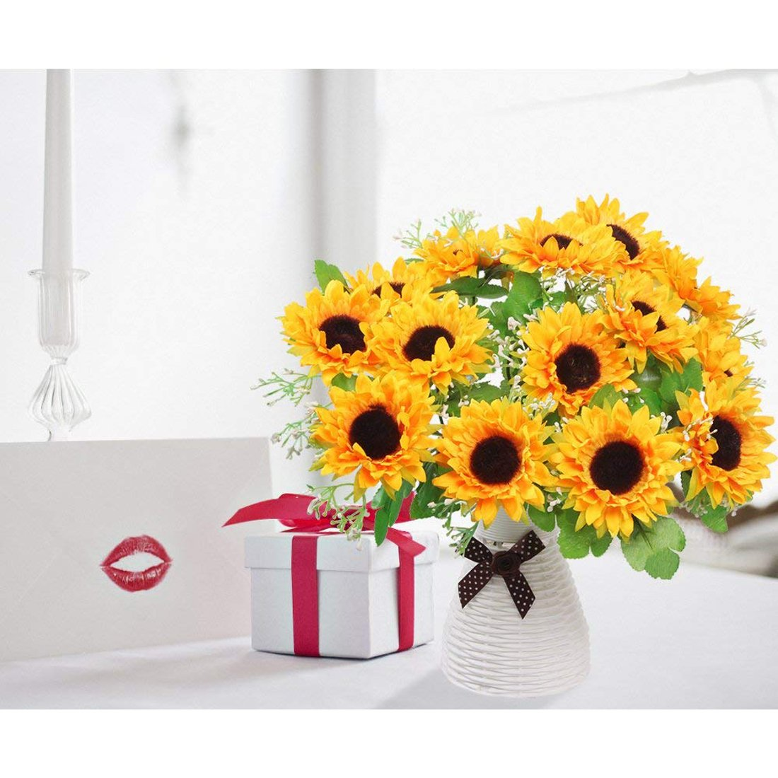 NDakter Artificial Sunflowers, 4 Bundles 7 Head Artificial Flowers Silk Sunflowers Plastic Plants Indoor Outdoor Home Kitchen Office Christmas Wedding Party Decoration