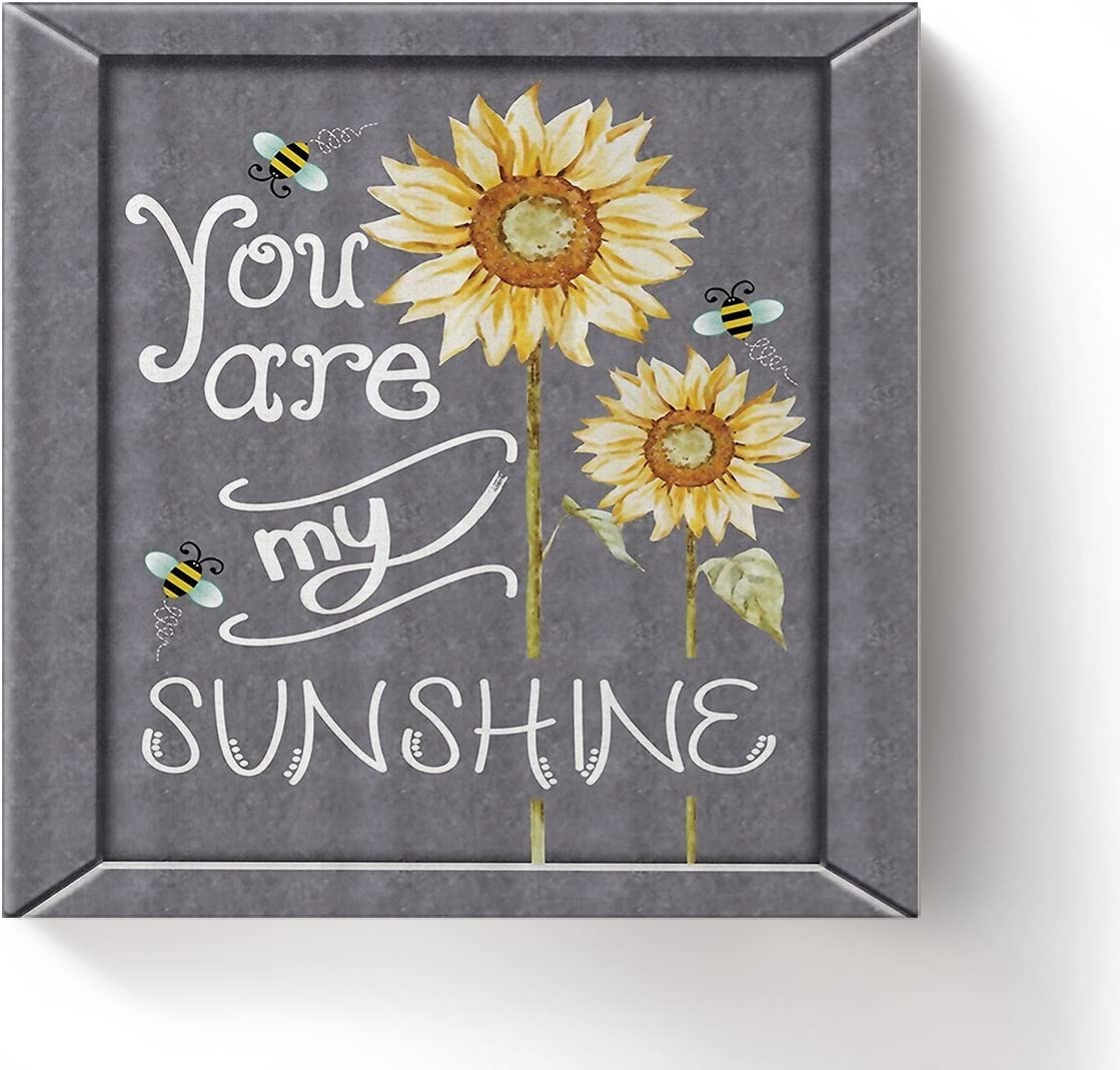 Sunflower Bee You are My Sunshine – Oil Painting On Canvas with Wood Frame Modern Wall Art Pictures for Home Decoration,20 x20