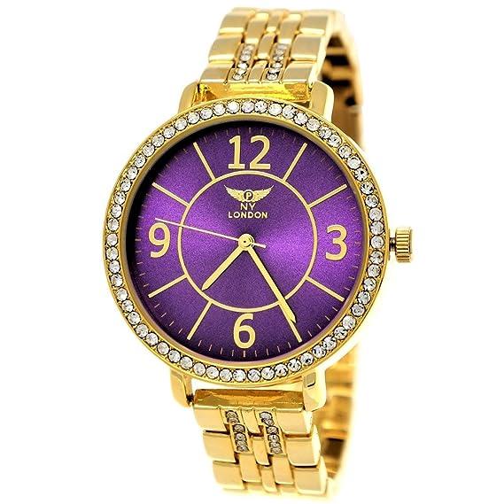 NY LONDON Designer brillantes mujer reloj, mujer reloj de pulsera, Oro, lila,