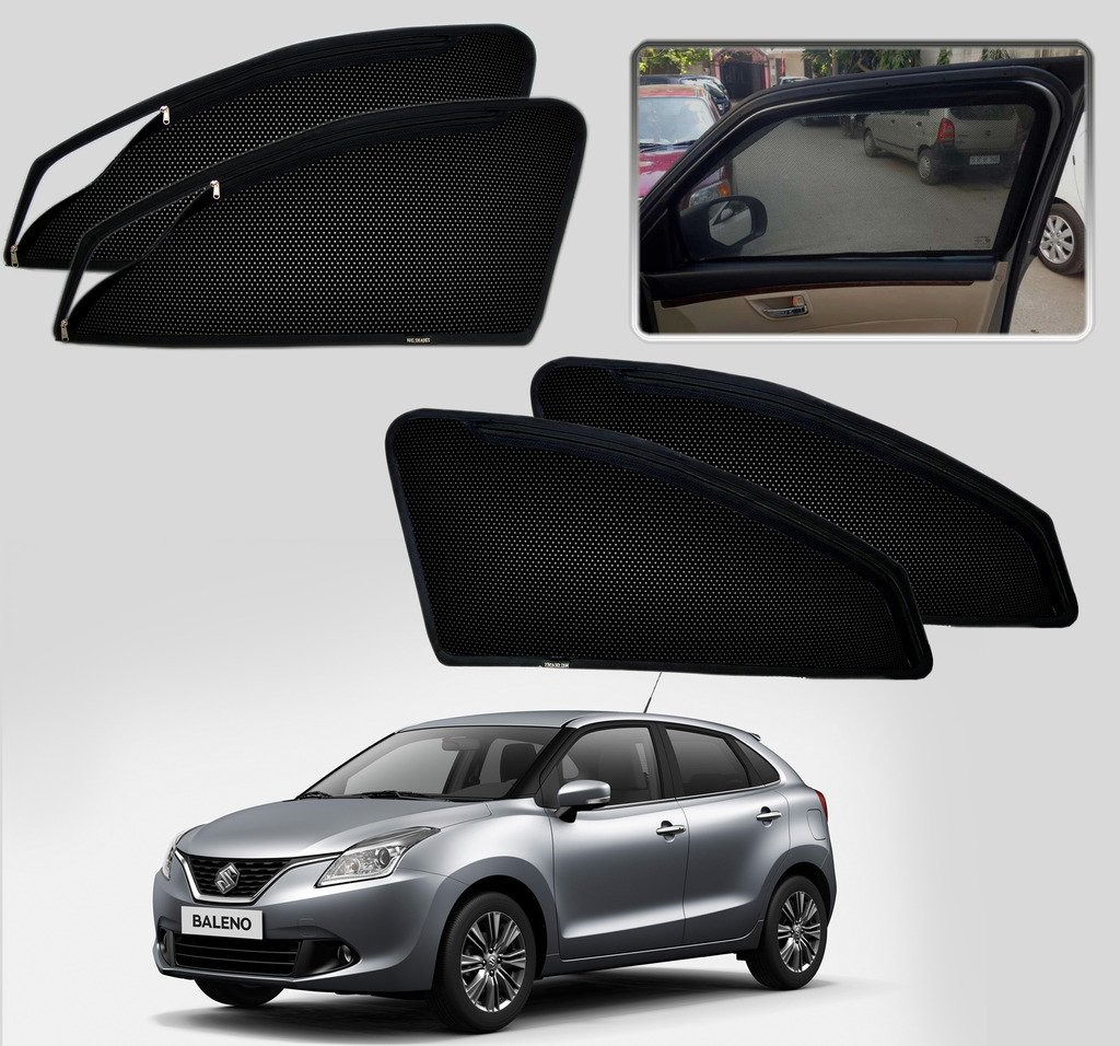 autopearl premium quality zipper magnetic sun shades car curtain for maruti suzuki new baleno set of 4 pcs amazonin car motorbike - Window Frame Kit