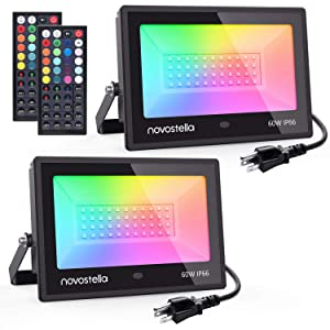 Novostella 2 Pack 60W RGB LED Flood Light, 44 Keys Controller, Dimmable Color Changing DIY Floodlight, Wall Washer Lights, IP66 Waterproof, Indoor Outdoor Landscape Stage Lighting for Christmas Garden