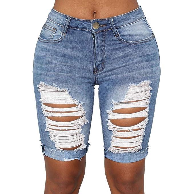 Fuxitoggo Pantalones Vaqueros Rotos para Mujer Cintura Alta ...