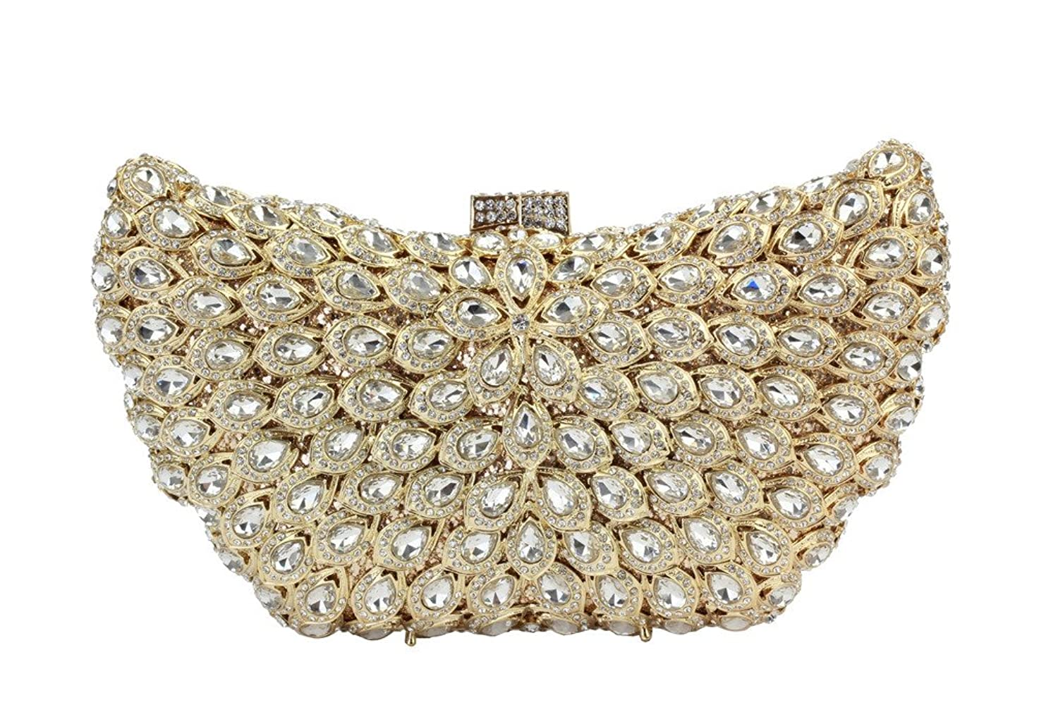 Yilongsheng Ladies Dazzling Evening Bags with Scattering Bright-colored Rhinestones