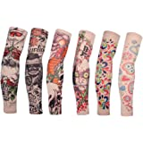 Edealing Cycling Armwarmer Stretchable Fake Arts Tattoo Sun UV Protection Sleeves For Outdoor Sports Running Golf Baseball, Set Of 6