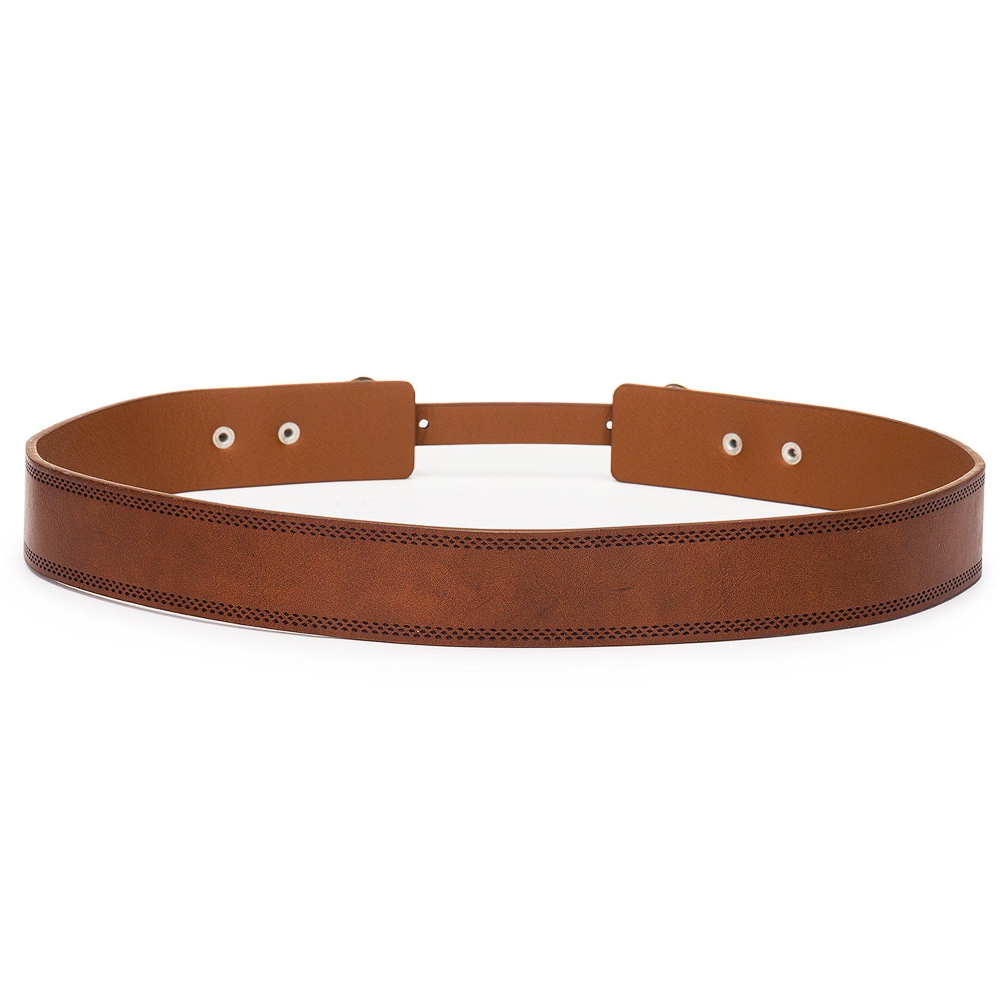 Tanpie Western Leather Belt for Women Boho Waist Belt with Designer Metal Double Buckle Yellow Brown L by Tanpie (Image #2)