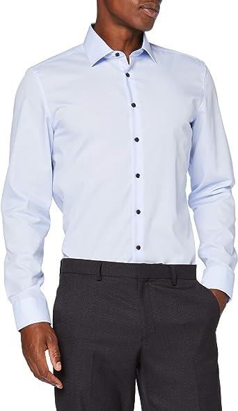 Seidensticker Slim Langarm Uni Kontrastknopf Camisa de Vestir para Hombre: Amazon.es: Ropa y accesorios