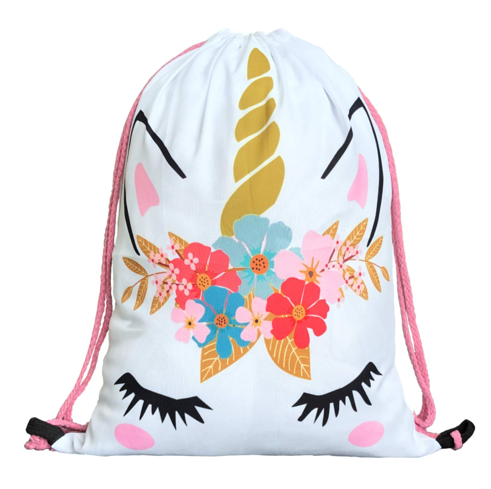 Unicorn Gifts for Girls – Unicorn Drawstring Backpack/Makeup Bag/Bracelet/Inspirational Necklace/Hair Ties