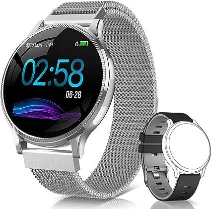 NAIXUES Smartwatch IP67 para mulheres e homens compatível com iOS e Android (prata)