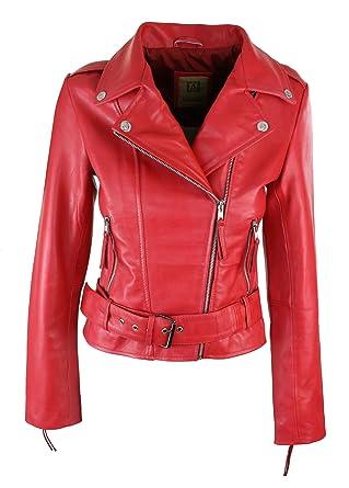 e14291d1b2ea Perfecto femme cuir véritable coupe cintrée vintage biker avec ceinture et fermeture  éclair