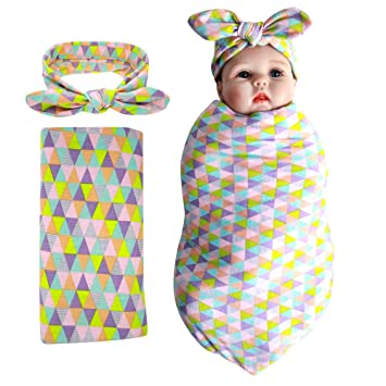 e65f25a78 Amazon.com: Newborn Baby Swaddle Blanket and Headband Value Set,Receiving  Blankets: Clothing
