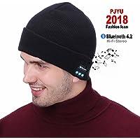 PJYU Bluetooth Mütze Hut Kopfhörer Winter Waschbar Hut Knit Cap Wireless Lautsprecher Eingebautes Mic Männer Frauen Teen Girl