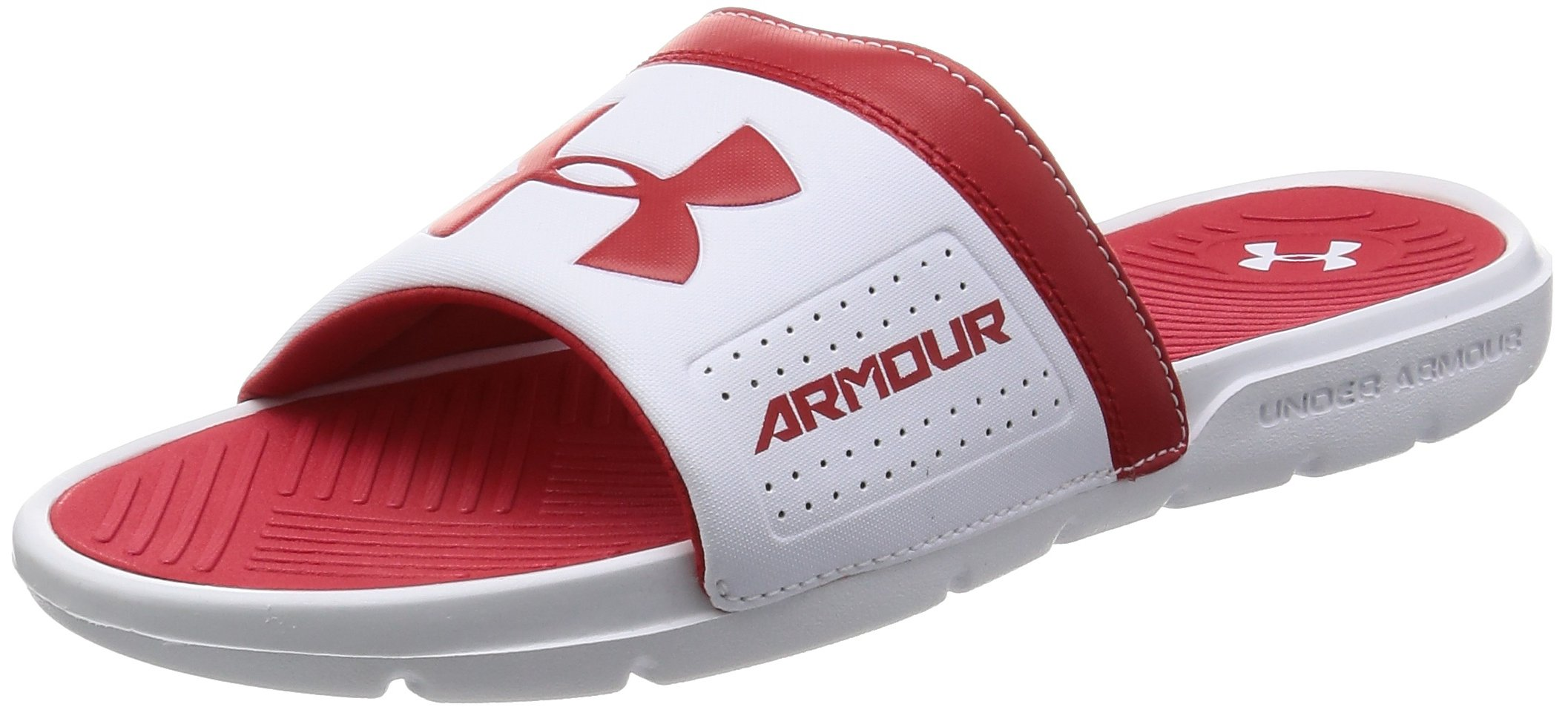 9c4538809bd9 Galleon - Under Armour Men s Playmaker VI Slide Sandal White (106) Red 12