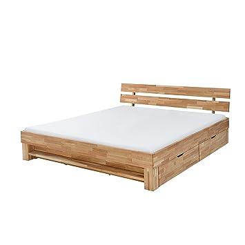 massives design doppelbett wotan 180cm massivholz eiche geolt mit regal und schubladen bett schlafzimmer holzbett bettrahmen