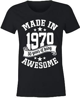 6TN Mujer Lengua española Hecha en 1970 50 años de ser Camiseta Impresionante (XXL, Negra): Amazon.es: Ropa y accesorios