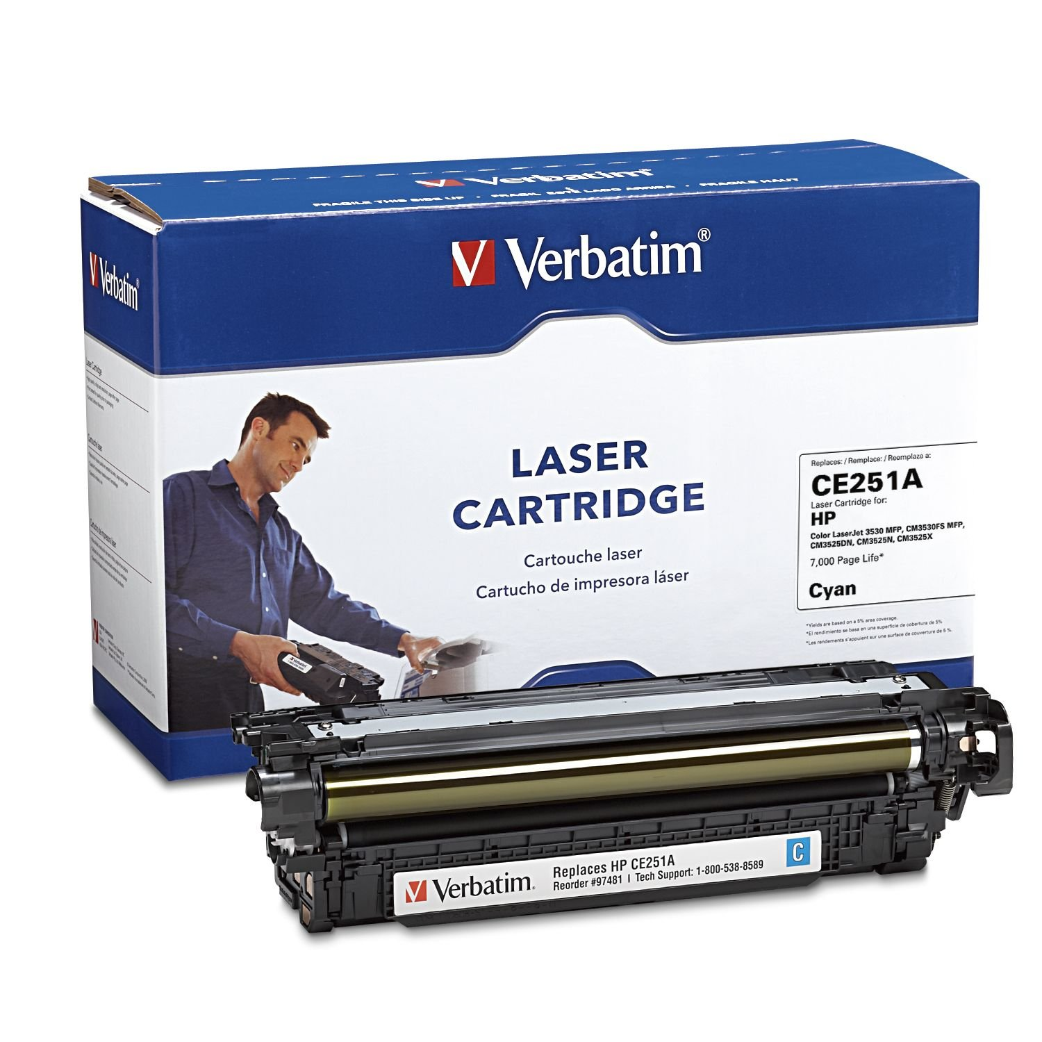 Verbatim Remanufactured Toner Cartridge Replacement for HP CE250A (Black)