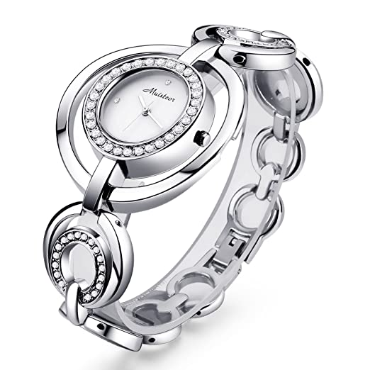 95ccd5f3c322 Chrysansmile Women Luxury Silver Bangle Watch Fashion Stainless Automatic Watch  Designer Cuff Bracelet Watches