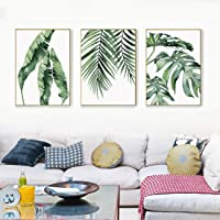 Trend Watercolor Banana, Palm & Monstera Leaf Canvas Print, Wall Art, Poster, Airbnb Home Decor. Sofa/Cafe / Office/Hotel Painting, Housewarming Gift. 3pcs. Unframed.